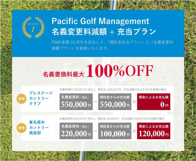 Pacific Golf Management 名義変更料減額+充当プラン